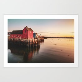 Motif #1 Fishing Shack and Rockport Harbor Sunrise Art Print
