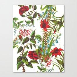 Ruby & Cerulean Floral Canvas Print