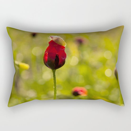 Poppy Flower Floral Blossom  in a field Rectangular Pillow