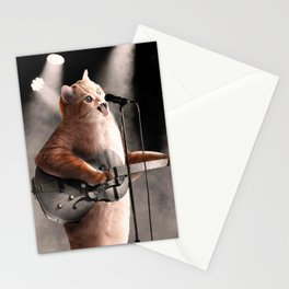 Rocker Cat With Rock Guitar Stationery Cards