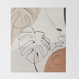 Minimal Abstract Art- Monstera Throw Blanket
