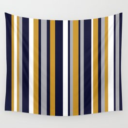 Modern Stripes in Mustard Yellow, Navy Blue, Gray, and White. Minimalist Color Block Wall Tapestry