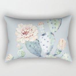 Prettiest Rose Cactus Blue Rectangular Pillow