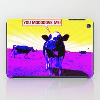 cows iPad Cases featuring Psychedelic Cows by Peter Gross