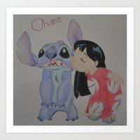 ohana Art Prints featuring Ohana by Sierra Christy Art