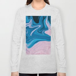 Wavy Pink & Blue (Color) Long Sleeve T-shirt