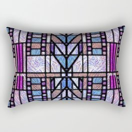 Purple and Blue Art Deco Stained Glass Design Rectangular Pillow