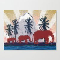 elephants Canvas Prints featuring Elephants by LoRo  Art & Pictures