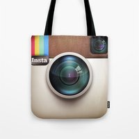 instagram Tote Bags featuring Instagram by Max Jones