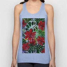 Exotic Passiflora Flowers Jungle Aloha Pattern Unisex Tank Top