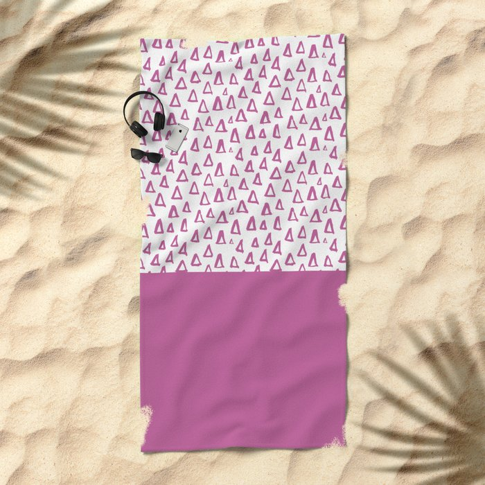 Triangles Purple Beach Towel
