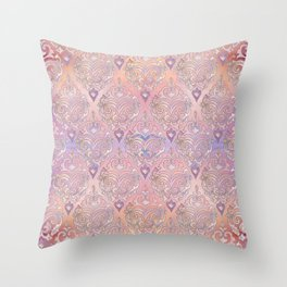 Persian Oriental Rose Marble and Silver Throw Pillow