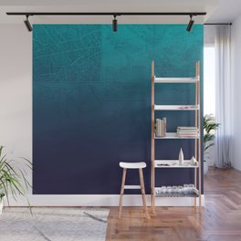 Blue Ombre Map Wall Mural