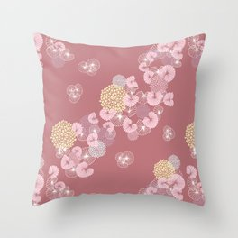 Floral Seamless Pattern on a Rusty Pink Background Throw Pillow