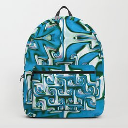 Blue and White Spiral Bends Backpack