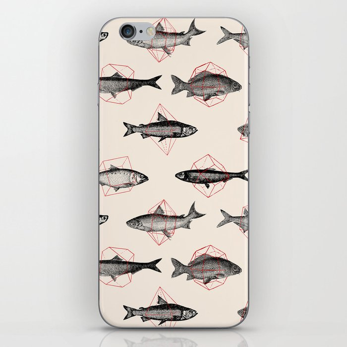 Fishes In Geometrics (Red) iPhone Skin