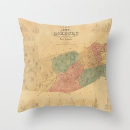 Vintage Map of Roxbury Massachusetts (1849) Throw Pillow