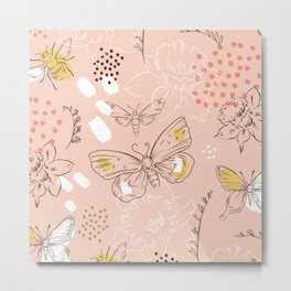 Flowers and Butterfly Pattern Spring Women Facemask Metal Print
