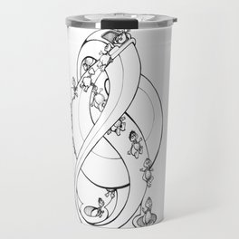 Perpetual Turtles - Doodle art of Turtles slipping down a perpetual sculpture Travel Mug