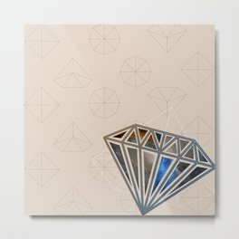 diamond pearl tadpoles / gem collage Metal Print