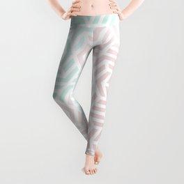 Pastel Deco Hexagon Pattern - Aqua and Pink #pastelvibes #pattern #deco Leggings