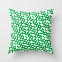 Off-White Four Leaf Clover Pattern with Green Background Throw Pillow