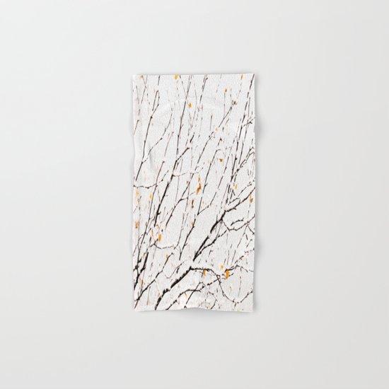 Snowy birch twigs and leaves Hand & Bath Towel