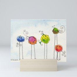 Five Silly Birds Mini Art Print