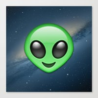emoji Canvas Prints featuring Alien Emoji by Nolan Dempsey