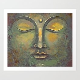 Rusty Golden Buddha Face - Zen and Balance Watercolor Painting Art Print