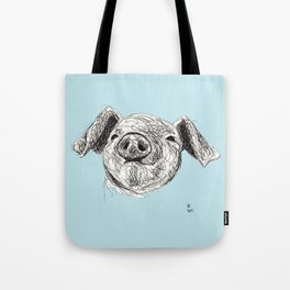 Baby Animals - Pig (Blue) Tote Bag