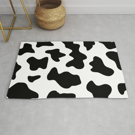 black and white ranch farm animal cowhide western country cow print Rug