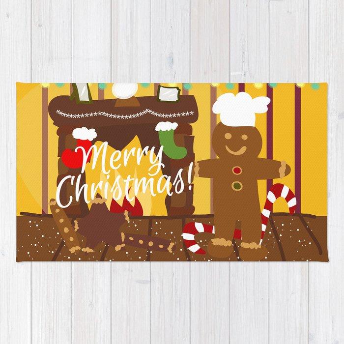 Christmas Characters Gingerbread Man Rug