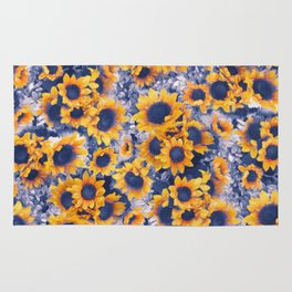 Sunflowers Blue Rug