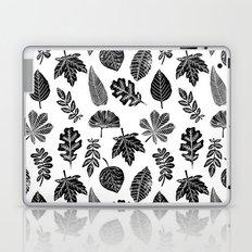 Linocut leaves fall autumn lino printmaking black and white decor art print trendy leaf pattern Laptop & iPad Skin