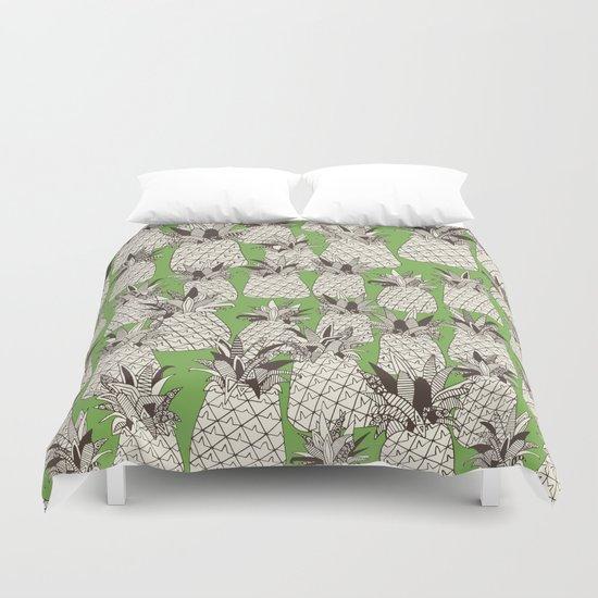 pineapple palm green Duvet Cover