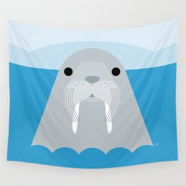 Walrus, sea animal, minimal & geometric Wall Tapestry