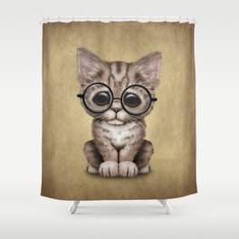 Cute Brown Tabby Kitten Wearing Eye Glasses Shower Curtain