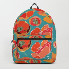 Turquoise California Poppies Backpack