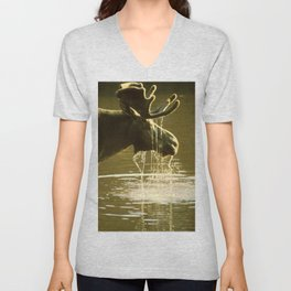 Moose Dipping His Head Into Water Unisex V-Neck