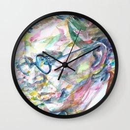 SARTRE - watercolor portrait.2 Wall Clock