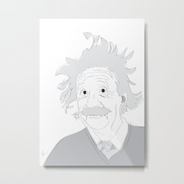 Albert Einstein Illustration Metal Print