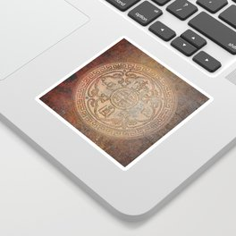 Antic Chinese Coin on Distressed Metallic Background Sticker