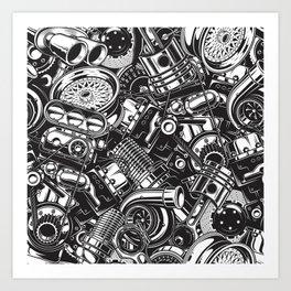 Automobile car parts pattern Art Print