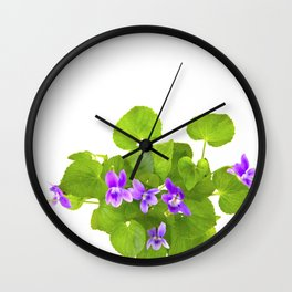 Bunch of Wild Violets Isolated on White Wall Clock