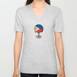 Vintage Tree of Life with Flag of Philippines Unisex V-Neck