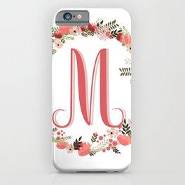Personal monogram letter 'M' flower wreath iPhone Case