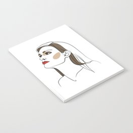 Woman with long hair and red lipstick. Abstract face. Fashion illustration Notebook