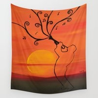 trumpet Wall Tapestries featuring Playing a trumpet  by Saribelle Inspirational Art