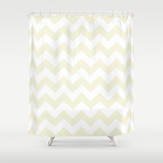Chevron (Beige/White) Shower Curtain by 10813 Apparel | Society6